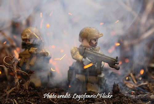 Lego army men under fire