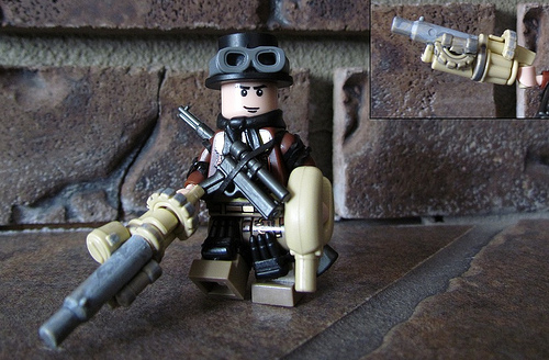 Lego army minifig and grenade launcher