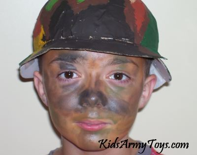 With Army Helmet